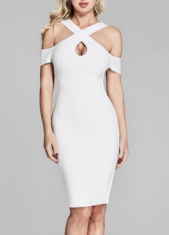 Famke White Halter Mini Bandage Dress