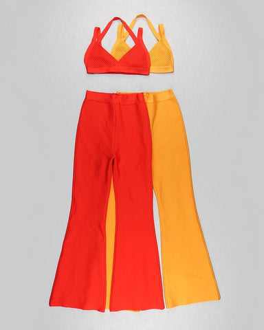 Ophelia Red Two Piece Pants Set