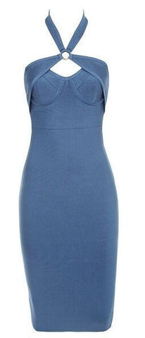 Mischa Blue Cutout Bandage Dress