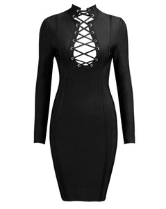 Mae Black Long Sleeve Lace Up Front Dress