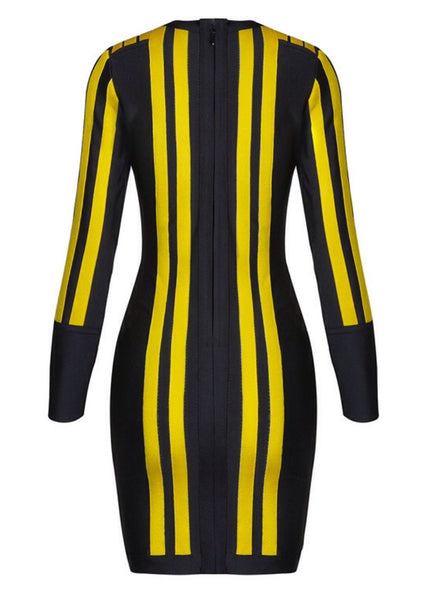 Abena Black and Yellow Bandage Dress