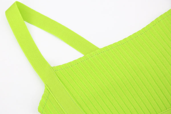 Briar Neon Green Spaghetti Strap Bandage Dress