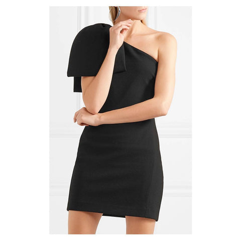 Letta Big Bow Shoulder Dress- Black