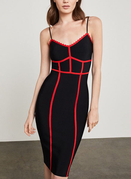 Bridget Red Black Spaghetti Strap Bandage Dress