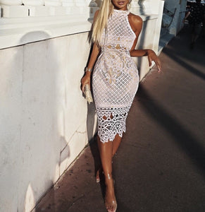 Hailey White Sleeveless Lace Bandage Dress