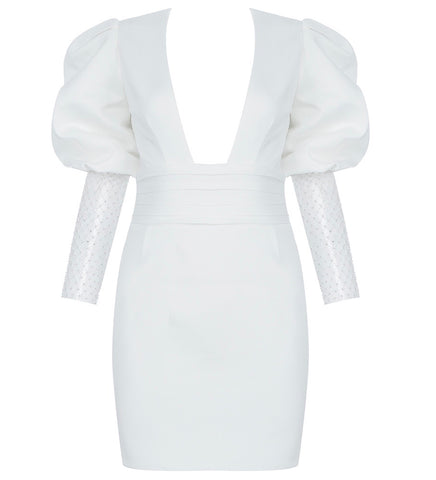 Freya White Embellished Puff Long Sleeve Mini Dress with Open Back
