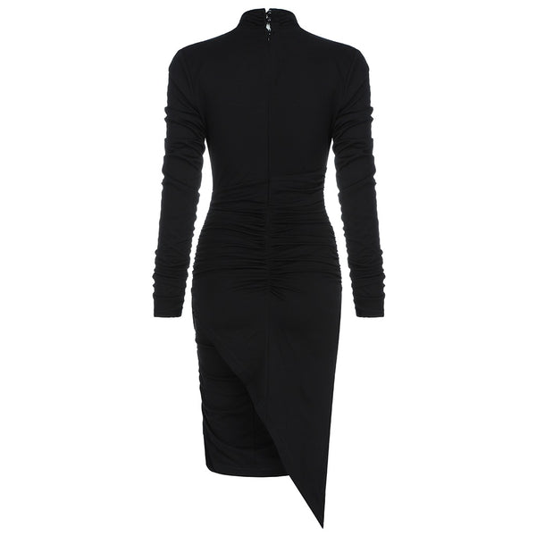 Loise Black Cross Bust Long Sleeve Midi Dress