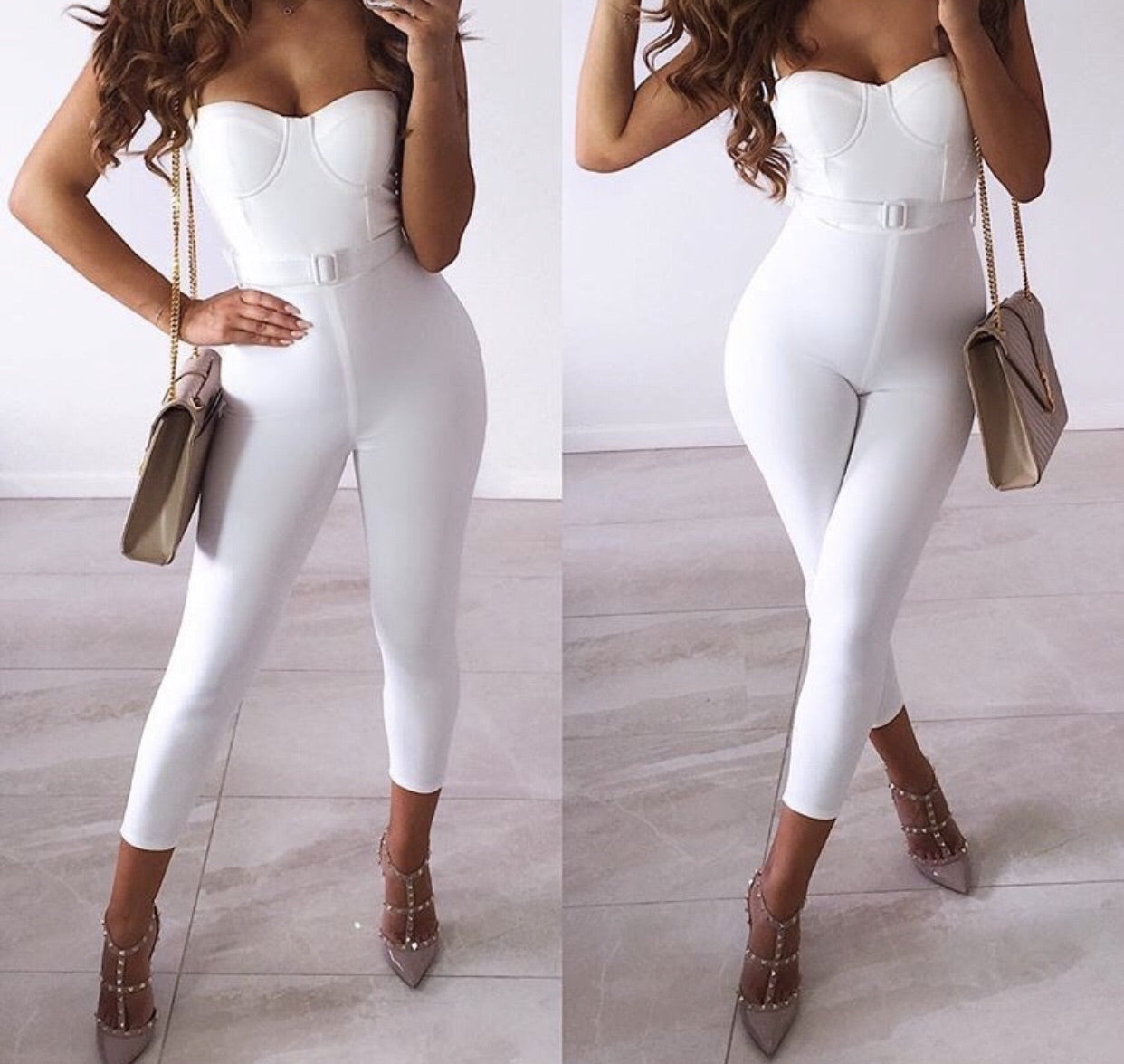 Birsen White Jumpsuit