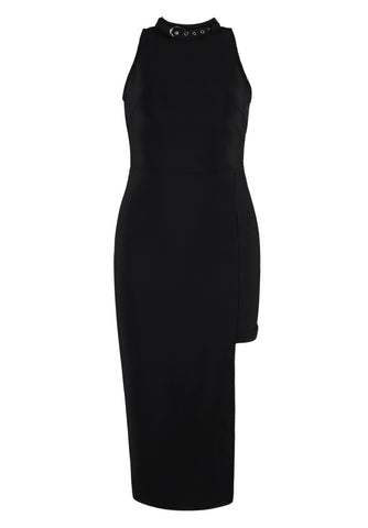 Sonakshi Black Sleeveless Bandage Dress