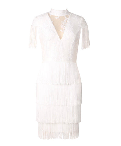 Greta White Mini Tassel Lace Dress