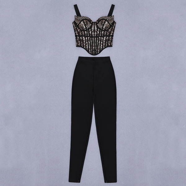 Yaretzi Black Sequined Two Piece Jumpsuit Set
