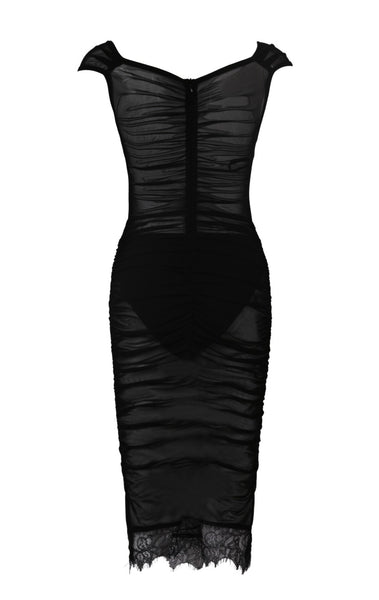 Valerie Embellished Mesh Midi Dress