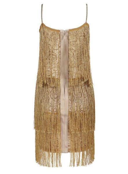 Tracie Gold Tassel Bandage Dress