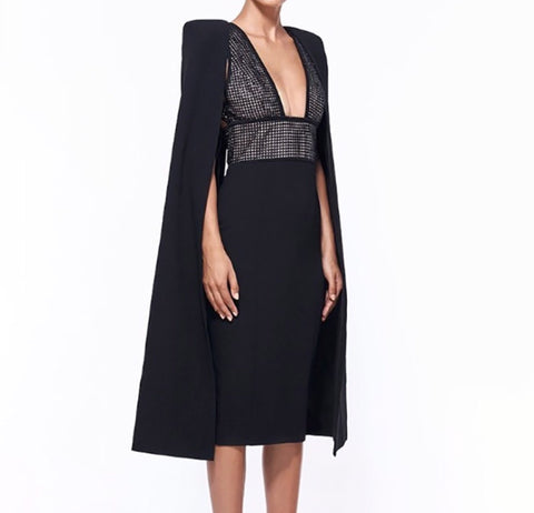 Milana Black Cape Dress