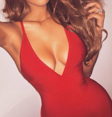 red sexy neckline bandage dress