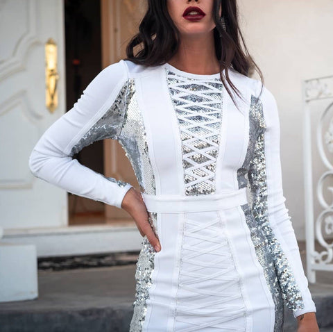 Zayda Long Sleeve White Bandage Dress with Sequin