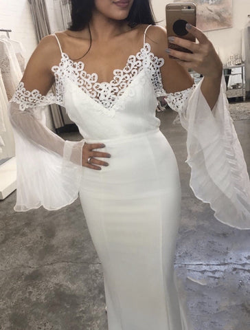 Jana White Spaghetti Strap Lace Midi Bandage Dress