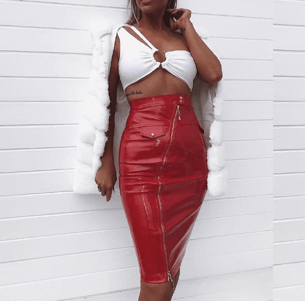 Nathaira Crop Top With Red Faux Leather Midi Skirt