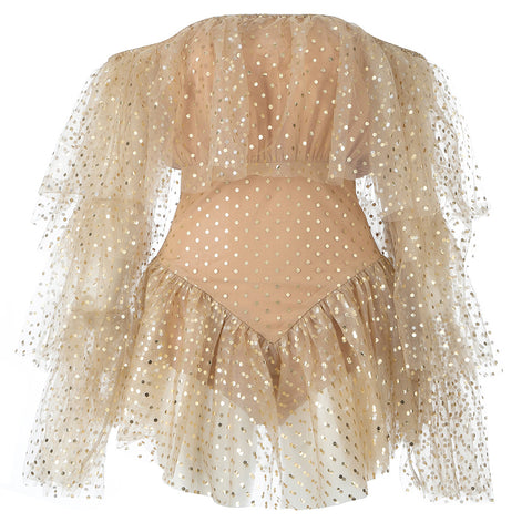 Dee Sexy Off Shoulder Mesh Mini Gold Dress