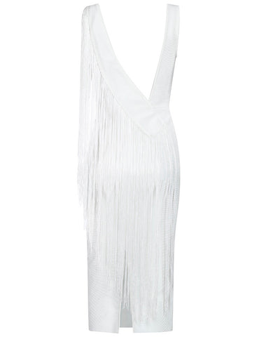 Zelda Tassel Detail Midi Dress White