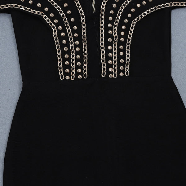 Malysa Black Mini Metal Studded Bandage Dress