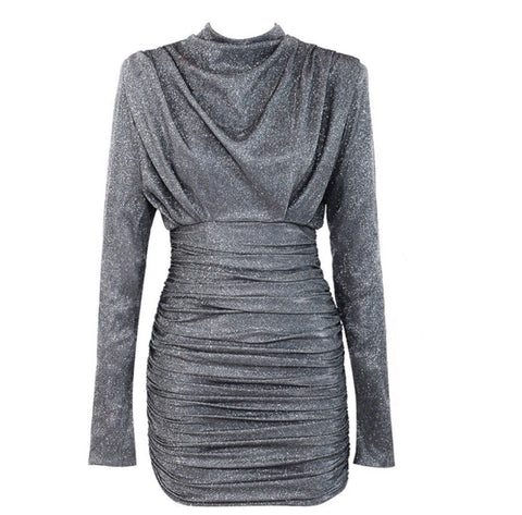 Tessa Mini Silver Round Neck Long Sleeve Dress