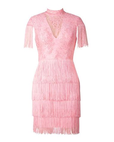 Greta Pink Mini Tassel Lace Dress