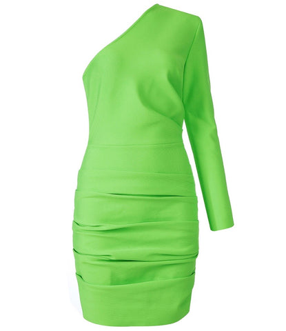 Finley One Sleeve Neon Green Ruched Dress