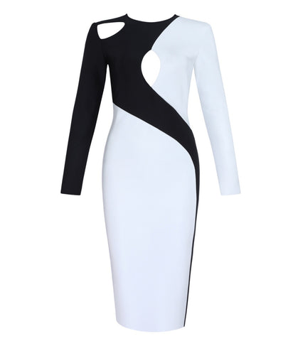 Nayeli Black White Bandage Dress