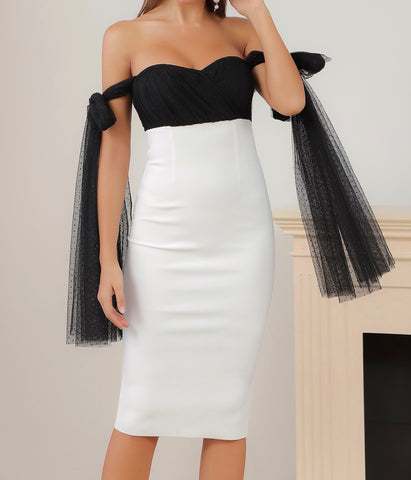 Ryleigh Black White Mesh Detail Off Shoulder Midi Dress