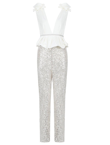 Jordan Peplum Sequin White Silver Jumpsuit with Bottom Side silt Details