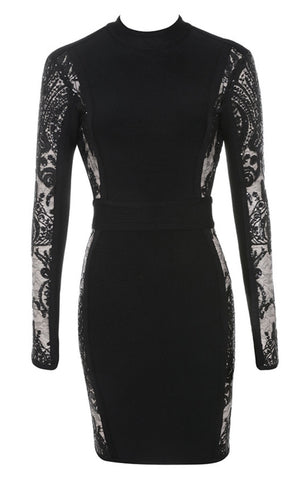Solange Black Backless Lace Dress