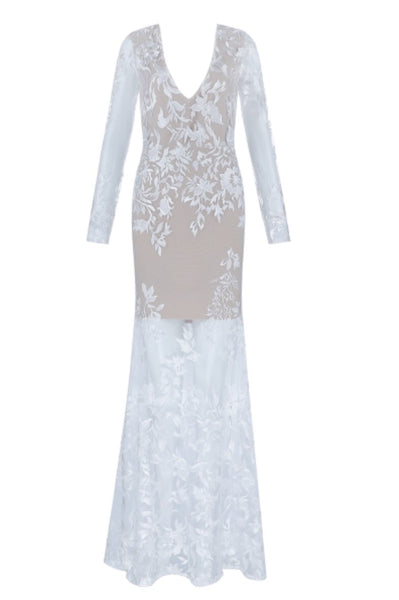 Parvati White long Sleeve Lace Bandage Dress