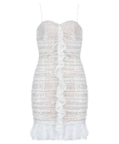 Jordyn White Spaghetti Strap Lace Dress