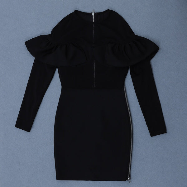 Yamileth Black Long Sleeve Bandage Dress with Mesh