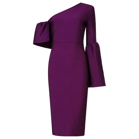Eden Long Sleeve Purple Midi Bandage Dress