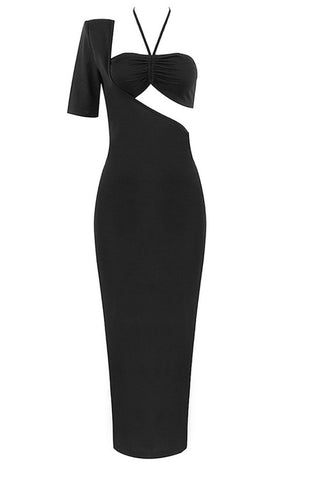 Avery Black Cut Out Asymmetrical Midi Dress