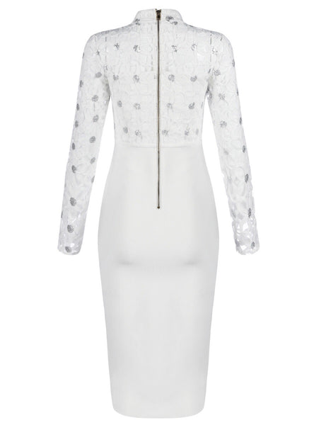 Leona White Long Sleeve Lace Bandage Dress