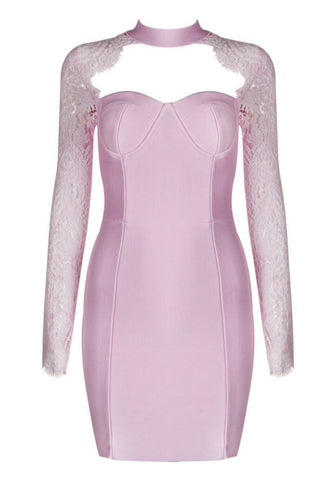 Hanna Pink Lace Bandage Dress