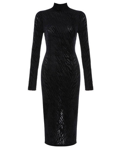 Moira Black Mesh Long Sleeve Animal Print Midi Dress