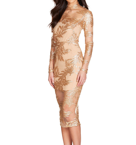 Alina Midi Gold Mesh Sequins Long Sleeve Dress