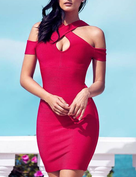 Famke Pink Halter Mini Bandage Dress