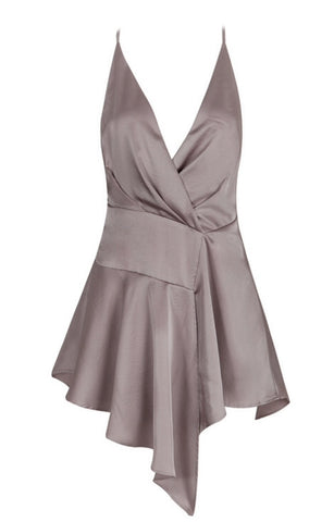 Adalyn Gray Draped Slip Dress