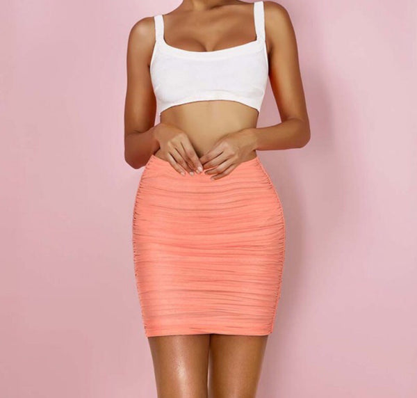 Kaylee White Crop Top with Pink Mesh Mini Skirt