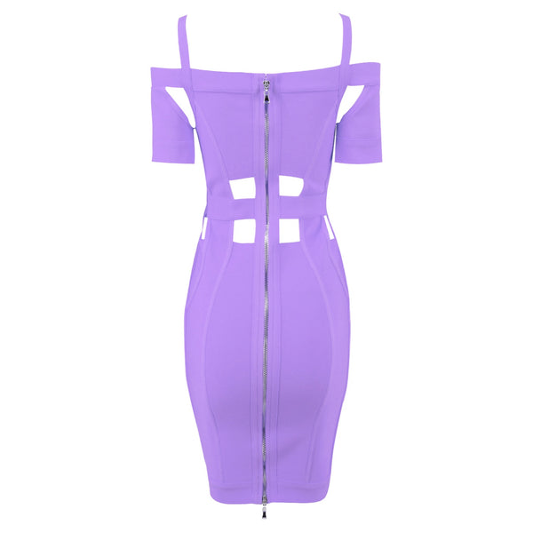 Serenity Purple Off Shoulder Neckline Dress