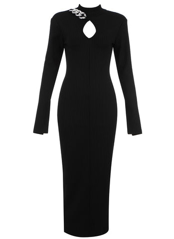 Esther Long Sleeve Black Midi Dress with Chain Detail