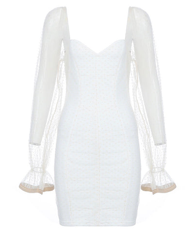 Brittany White Mesh Long Sleeve Mini Bandage Dress