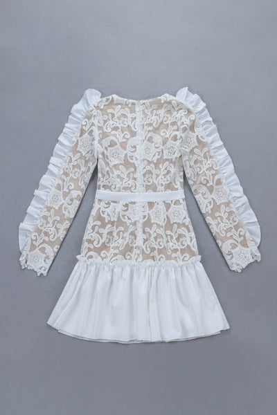 Emilka White Lace Short Long Sleeve Dress