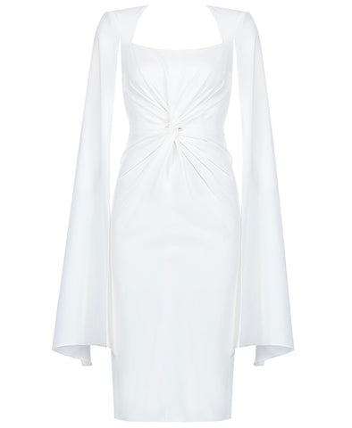 Saige White Drape Front Cape Sleeve Midi Dress