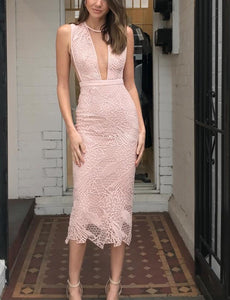 Hannah Pink Lace Bandage Dress